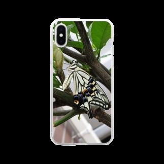 トロワ イラスト&写真館の美しきアゲハ蝶 Soft clear smartphone cases