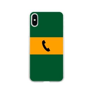 沿線電話(黒-電話マーク)  Soft clear smartphone cases