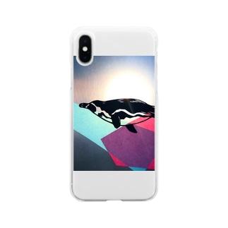 泳ぐペンギン Soft clear smartphone cases