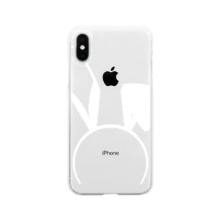 バニーB白 Soft clear smartphone cases
