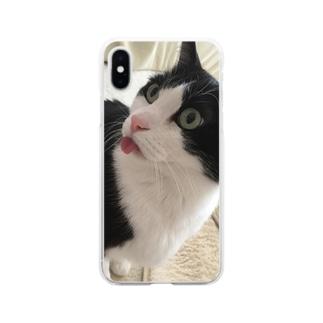 したがでてるちぢみ Soft clear smartphone cases