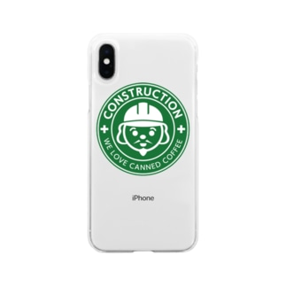 施工の神様 Soft clear smartphone cases