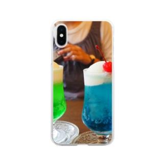 青と緑のクリームソーダ Soft clear smartphone cases