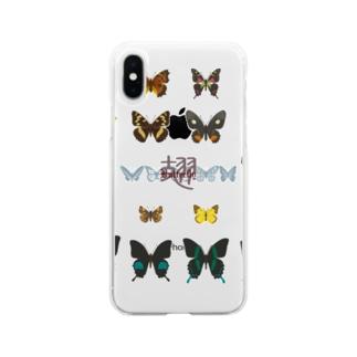 バタフライ Soft clear smartphone cases