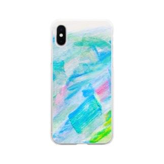 余白の海へすすむ魚𓆛𓆜𓆝𓆞𓆟 Soft clear smartphone cases