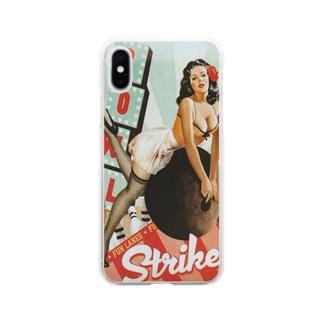 スマホケース専門店のレトロ看板風美女 Soft clear smartphone cases