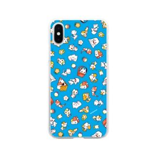 わんにゃん(青) Soft clear smartphone cases