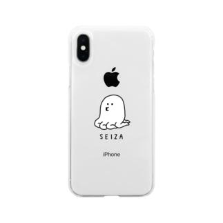 ふるえるとりのたこあしパイセン Soft clear smartphone cases