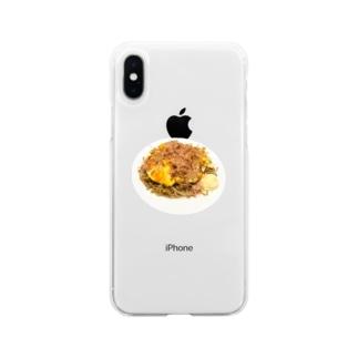 オムそばwithマヨネーズ Soft clear smartphone cases