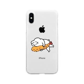 ふるえるとりのエビフライとうさぎ Soft clear smartphone cases