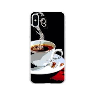 コーヒー Soft clear smartphone cases