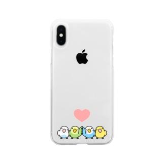 ハイタッチなかよしセキセイインコ【まめるりはことり】 Soft clear smartphone cases