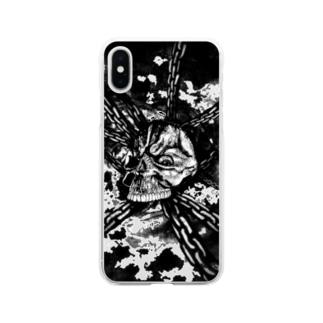 チェーン スカル(モノクロ) Soft clear smartphone cases
