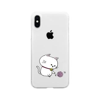 つり目にゃんこ Soft clear smartphone cases