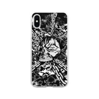 スカル チェーン 白黒 Soft clear smartphone cases