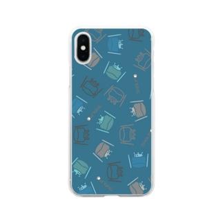 カエル ドラム ちりばめられたサブロー グリーン Soft clear smartphone cases