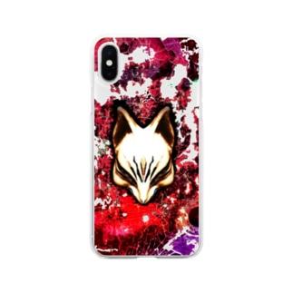 狐面 焔 Soft clear smartphone cases