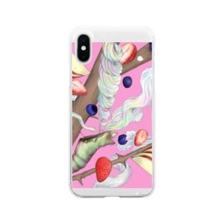 蝶々ケーキ Soft clear smartphone cases