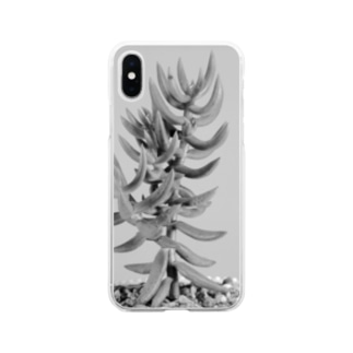 多肉植物B Black and white Soft clear smartphone cases
