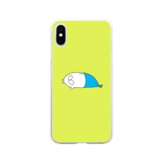 ねこタイツの昼寝 Soft clear smartphone cases
