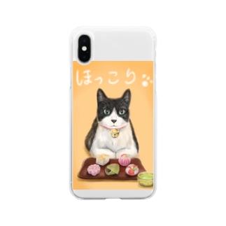 茶屋猫 上生菓子 Soft clear smartphone cases