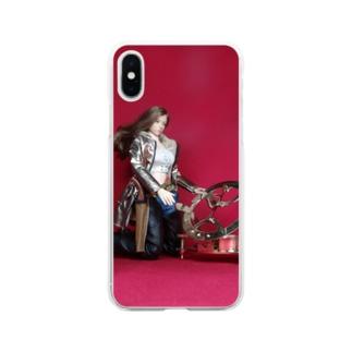 ドール写真:日時計を見る美少女ガンファイター Doll picture: Sundial & girl Soft clear smartphone cases