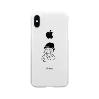 さんれもスマホ黒2 Soft clear smartphone cases