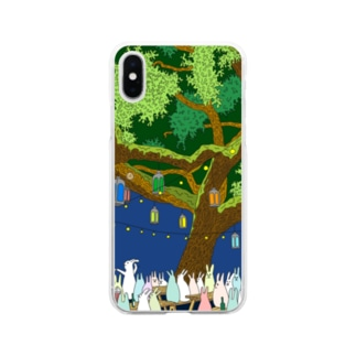 うさぴーと光の夜 Soft clear smartphone cases