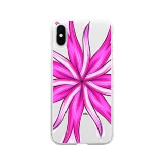 ピンクの花 Soft clear smartphone cases