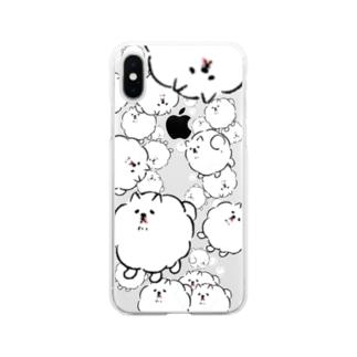 せまり来る犬 Soft clear smartphone cases