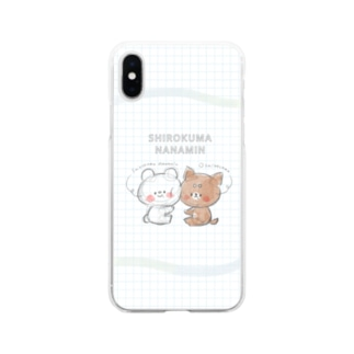 ラフ画風 しろくまななみんとおしばさま Soft clear smartphone cases