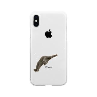 びよ〜ん猫 Soft clear smartphone cases