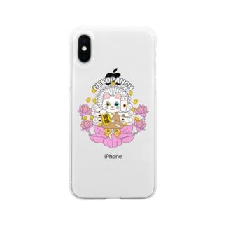 猫 千手観音 オッドアイ Soft clear smartphone cases