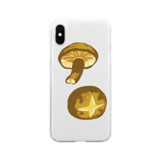 しいたけ・椎茸イラストグッズ【果物・お野菜シリーズ】 Soft Clear Smartphone Case