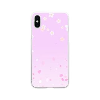 花柄 桜 2 #108 Soft clear smartphone cases