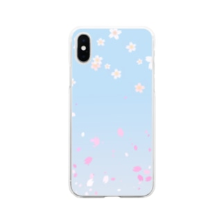 花柄 桜 2-2 ブルー #109 Soft clear smartphone cases