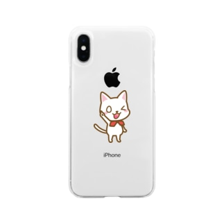 白ねこ公式キャラクター Soft clear smartphone cases