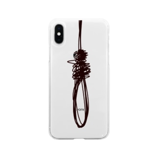結び(黒) Soft clear smartphone cases
