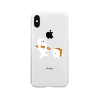 食パンとねこ Soft clear smartphone cases
