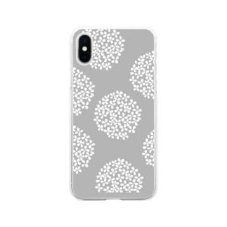 北欧 花柄 アジサイ 1 グレー #209 Soft clear smartphone cases