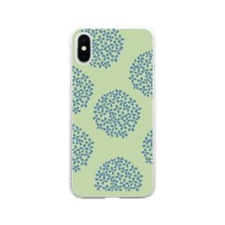北欧 花柄 アジサイ 2 グリーン #210 Soft Clear Smartphone Case