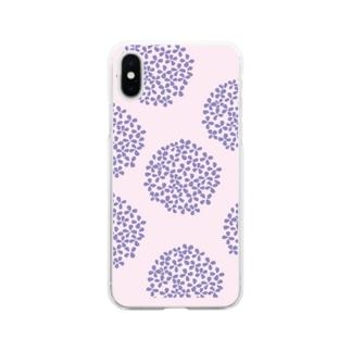 北欧 花柄 アジサイ 3 パープル #211 Soft Clear Smartphone Case