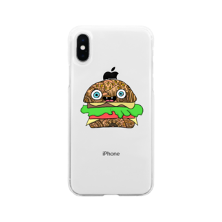 creat_tonakaiのハンバーガーくん Soft clear smartphone cases