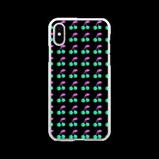 AkiRaLaLaのさくらんぼ 反転 Soft clear smartphone cases