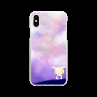 shio-shioの水彩風うさぎ Soft clear smartphone cases
