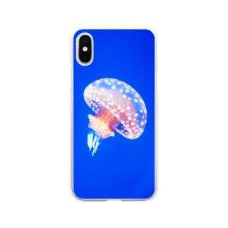 ぽつねんクラゲ Soft clear smartphone cases