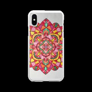 saiko-ruiのマンダラRED Soft clear smartphone cases