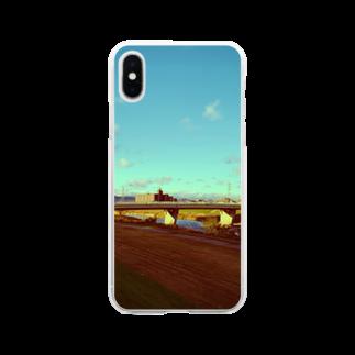 さきっぺの夕暮れの川沿い Soft clear smartphone cases