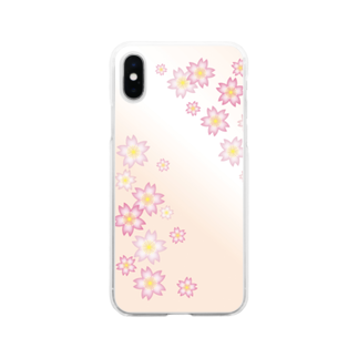 sonoteniの花柄 桜 4 #121 Soft clear smartphone cases