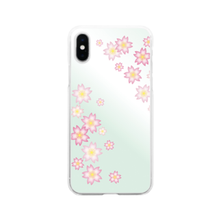 sonoteniの花柄 桜 4-2 グリーン #122 Soft clear smartphone cases